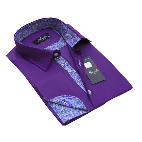 Reversible Cuff French Cuff Shirt // Dark Purple Paisley (S)