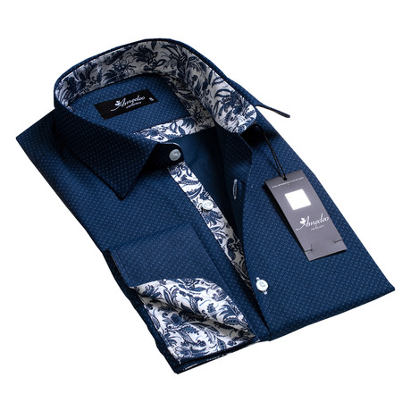 Amedeo Exclusive // Reversible Cuff French Cuff Shirt // Navy Blue Floral (S)