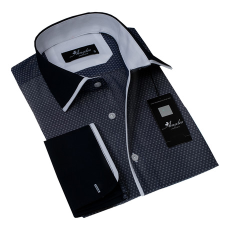 Reversible Cuff French Cuff Shirt // Charcoal Black + Solid Black (S)