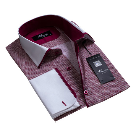 Reversible Cuff French Cuff Shirt // Burgundy + White (S)