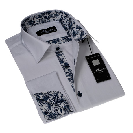 Reversible Cuff French Cuff Shirt // White Floral (S)