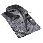 Reversible Cuff French Cuff Shirt // Grey + White + Black Paisley (2XL)