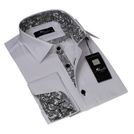 Reversible Cuff French Cuff Shirt // White + White + Black Paisley (S)