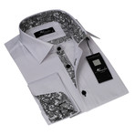Reversible Cuff French Cuff Shirt // White+ Black Paisley (M)