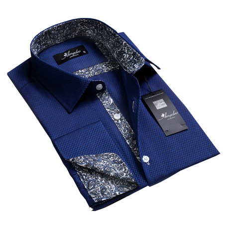 Reversible Cuff French Cuff Shirt // Blue + Black Squares Paisley (S)