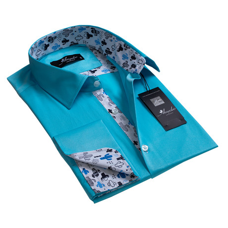 Reversible Cuff French Cuff Shirt // Turquoise Blue Solid (XL)