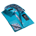 Reversible Cuff French Cuff Shirt // Turquoise Blue Solid (M)