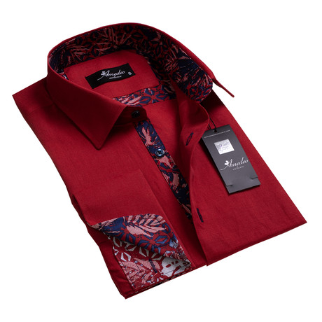 Amedeo Exclusive // Reversible Cuff French Cuff Shirt // Burgundy Floral (S)