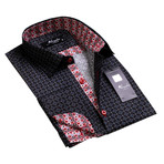 Reversible Cuff French Cuff Shirt // Black + Red (XL)
