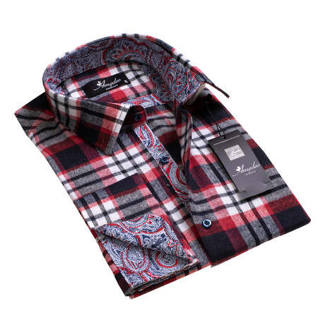Amedeo Exclusive // Reversible Cuff French Cuff Shirt // Black + White + Red Check + Paisley (S)