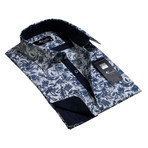 Reversible Cuff French Cuff Shirt // White + Blue Floral (S)