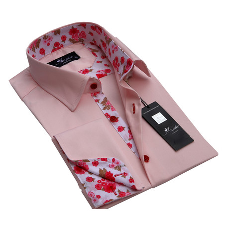 Amedeo Exclusive // Reversible Cuff French Cuff Shirt // Salmon Pink Floral (S)