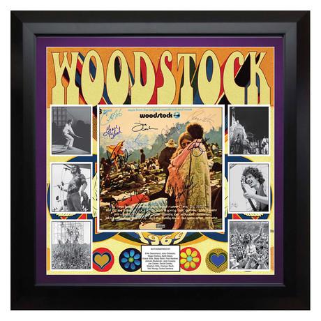 Framed autographed album collage Woodstock