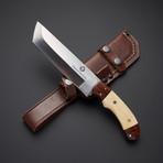 D2 // Camel Bone + Walnut Tanto Hunter Knife