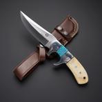 D2 // Blue Turquoise + Camel Bone Sub Hilt Knife