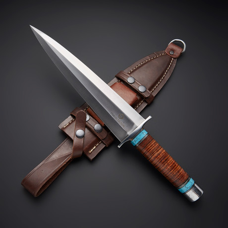 D2 // Arkansaw Toothpick Blue-Turquoise Dagger Knife