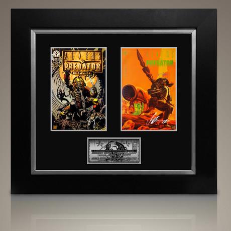 Set of 2 : Aliens Vs Predator #1 1990-1995 // Arnold Schwarzenegger + Sigourney Weaver + Karl Story + Jimmy Palmiotti // Custom Frame (Signed Comic Book Only)