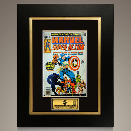 Captain America #1 1977 Marvel Super Action // Stan Lee Signed Comic // Custom Frame (Signed Comic Book Only)