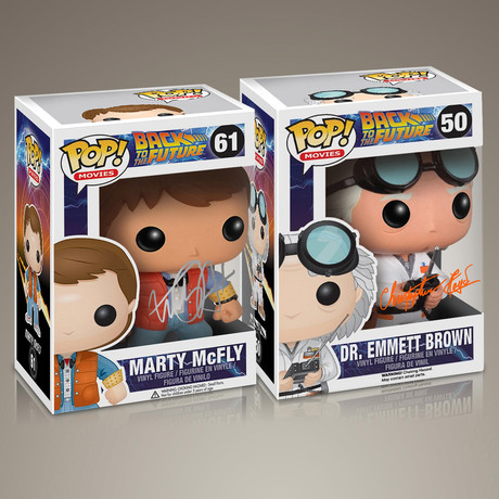 Back to the Future Doc + Marty // Christopher Lloyd + Michael J Fox Signed // Set of 2 Pops
