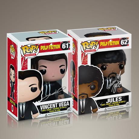 Pulp Fiction Vincent + Jules // John Travolta + Samuel L. Jackson Signed // Set of 2 Pops