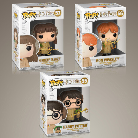 Harry Potter Harry + Hermione + Ron // Daniel Radcliffe + Emma Watson + Rupert Grint Signed // Set of 3 Pops