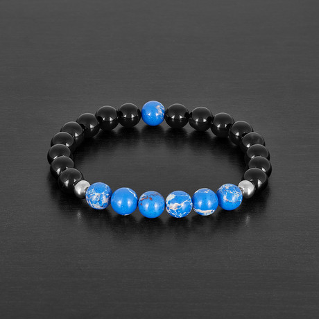 Agate + Regalite Stone Beaded Bracelet