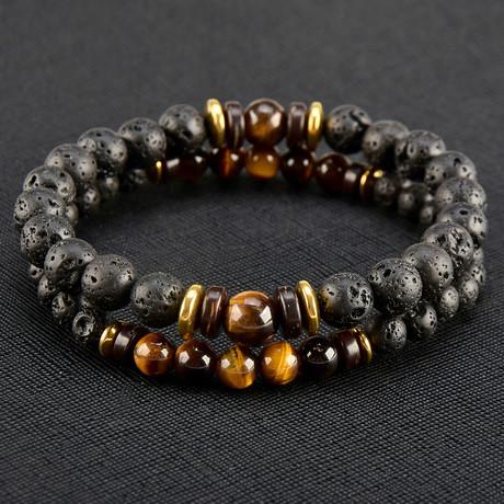 Tiger's Eye + Lava + Hematite Beaded Bracelet