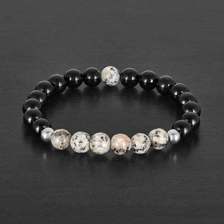 Agate + Granite Stone Beaded Bracelet
