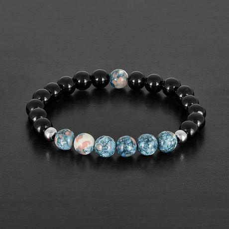 Agate + Colored Quartz Stone Beaded Bracelet
