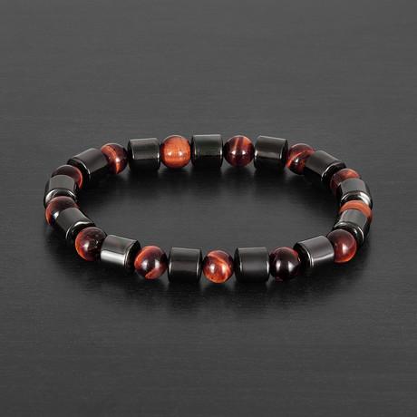 Cylinder Gunmetal Hematite + Red Tiger's Eye Stone Bracelet