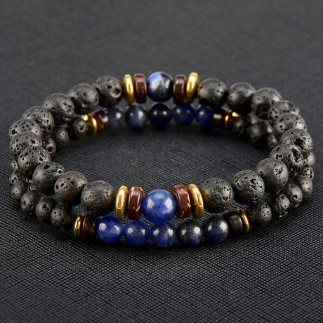 Sodalite + Lava + Hematite Beaded Bracelet