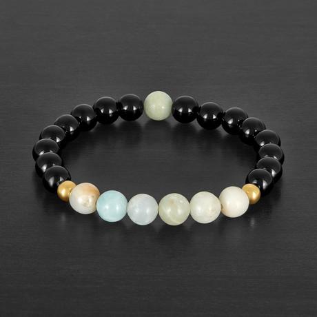 Agate + Amazonite Stone Beaded Bracelet