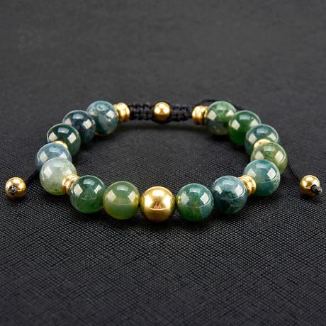 Gold IP Moss Agate Stone Adjustable Bracelet