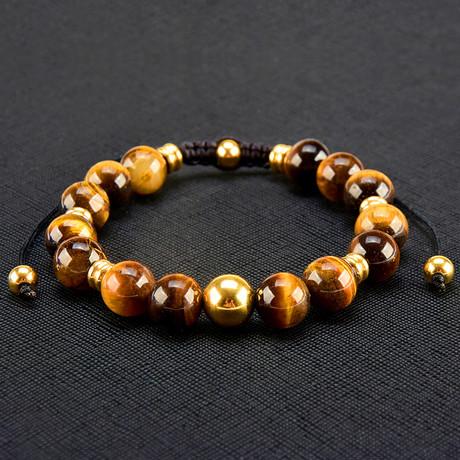 Gold IP Tiger's Eye Stone Adjustable Bracelet