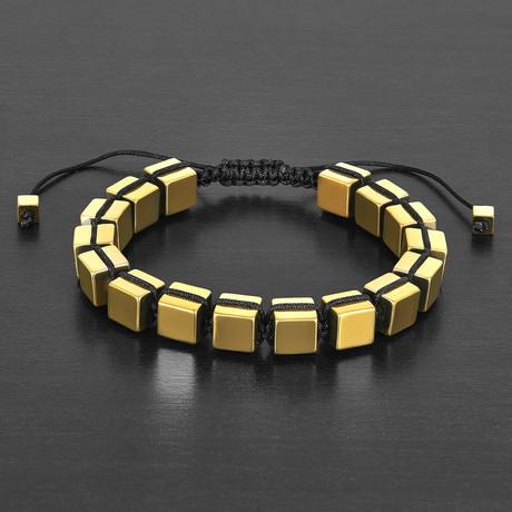 Gold IP Hematite Cube Stone Adjustable Bracelet