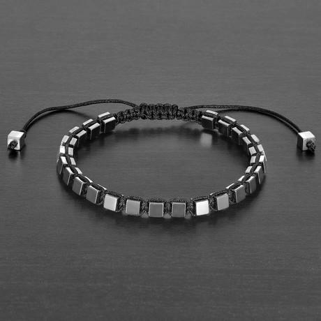 Hematite Cube Stone Adjustable Bracelet