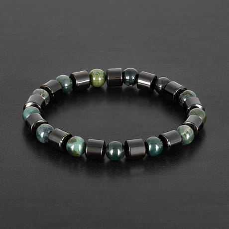 Cylinder Gunmetal Hematite + Green Agate Stone  Bracelet