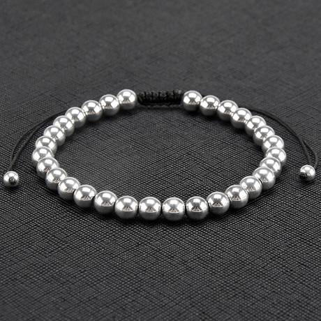 Rhodium IP Hematite Stone Adjustable Bracelet
