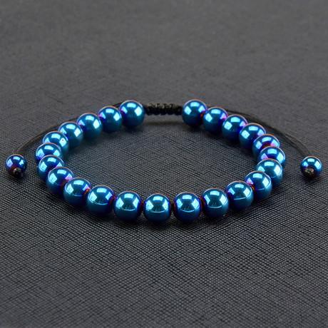 Blue IP Hematite Stone Adjustable Bracelet