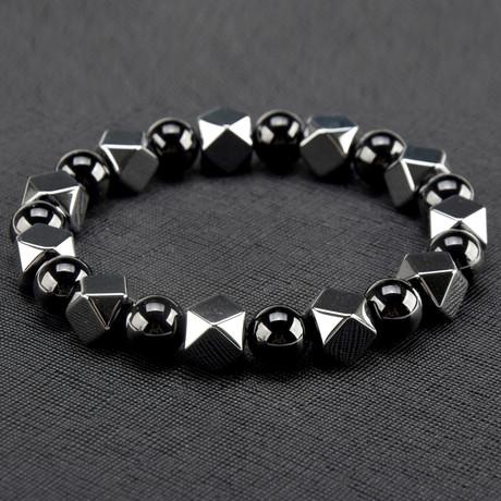 Hexagon Hematite + Onyx Stone Bracelet