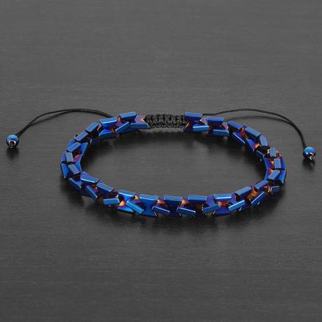 Intwined Blue IP Hematite Stone Adjustable Bracelet