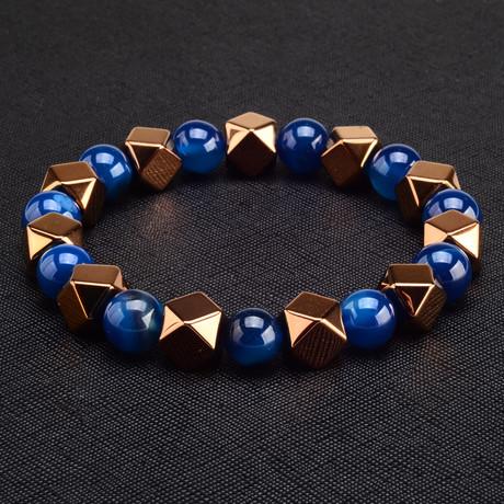 Hexagon Rose Gold IP Hematite + Agate Stone Bracelet
