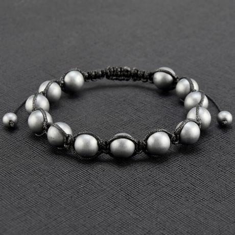 Matte Finish Hematite Stone Adjustable Bracelet