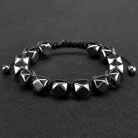 Hexagon Hematite Stone Beaded Adjustable Bracelet