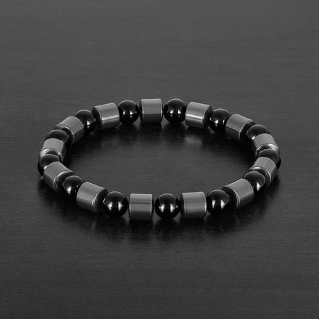 Cylinder Hematite + Onyx Stone Bracelet