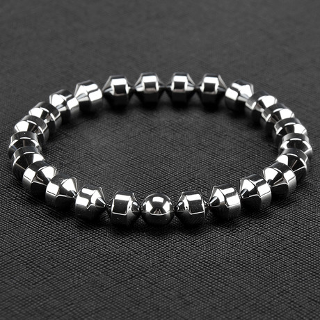 Cylinder Hematite Stone Beaded Stretch Bracelet
