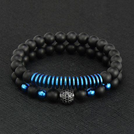 Layered Matte Agate + Blue Plated Hematite Beaded Bracelet