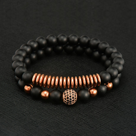 Layered Matte Agate + Rose Gold Plated Hematite Beaded Bracelet