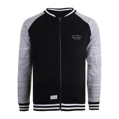 Bridge Baseball Jacket // Black + Gray (XS)