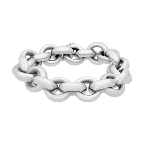 Bucherer 18k White Gold Large Round Link Bracelet